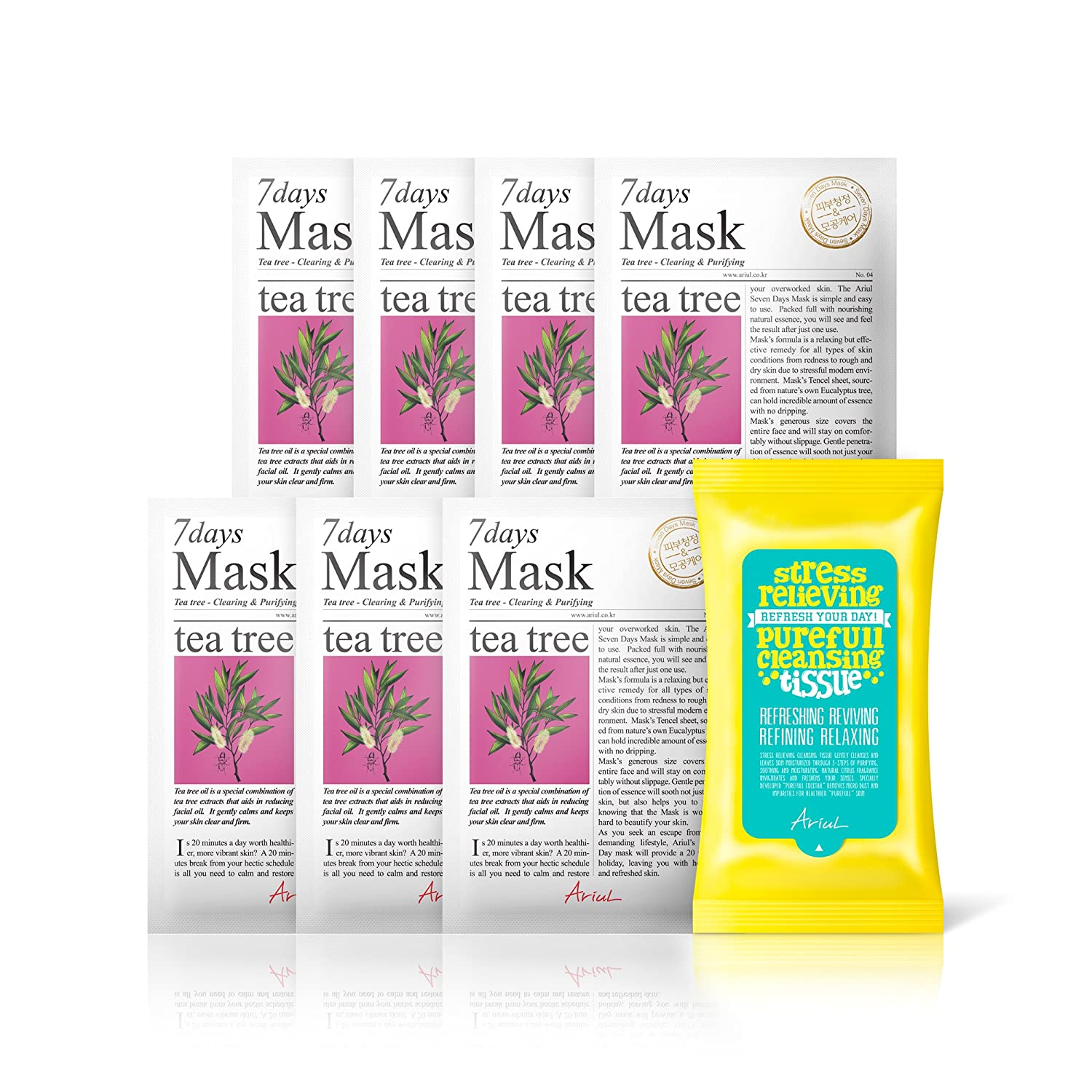 Ariul Natural Tea Tree Sheet Mask for Acne, Clearing & Purifying 7 Days Mask Multipack (7 Masks + 15 Free Wipes) Premium Facial Mask Pack, Calm & Soothe, Anti-viral, Antiseptic, Cures Dry Skin