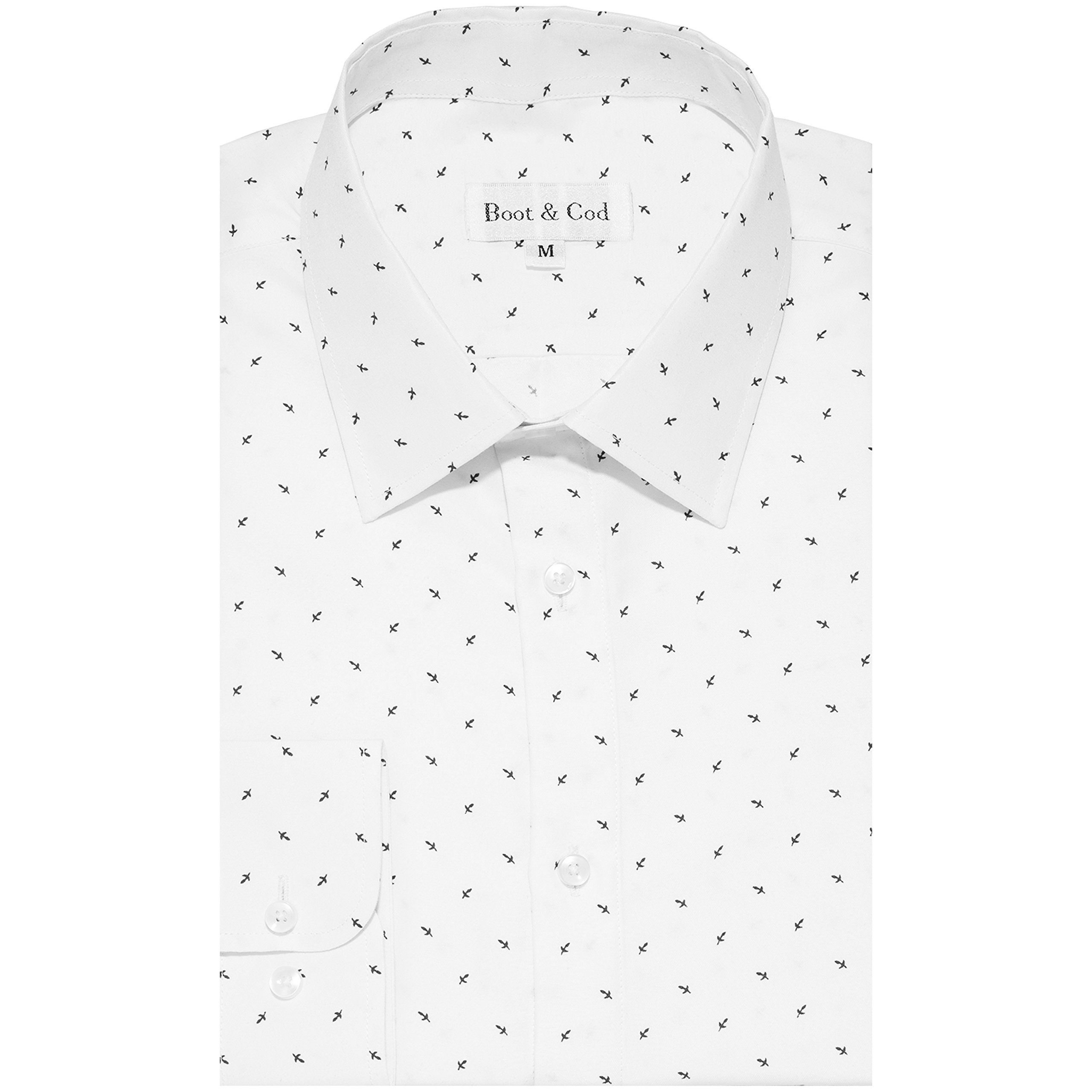 Boot & Cod Men's Shirts - Patterned Fitted Long Sleeve Button Down Dress Shirt for Men - 4'' Semi-Spread Collar, Tapered Sleeves, Slim Fit, Single-Barrel Rounded Cuffs X-Small