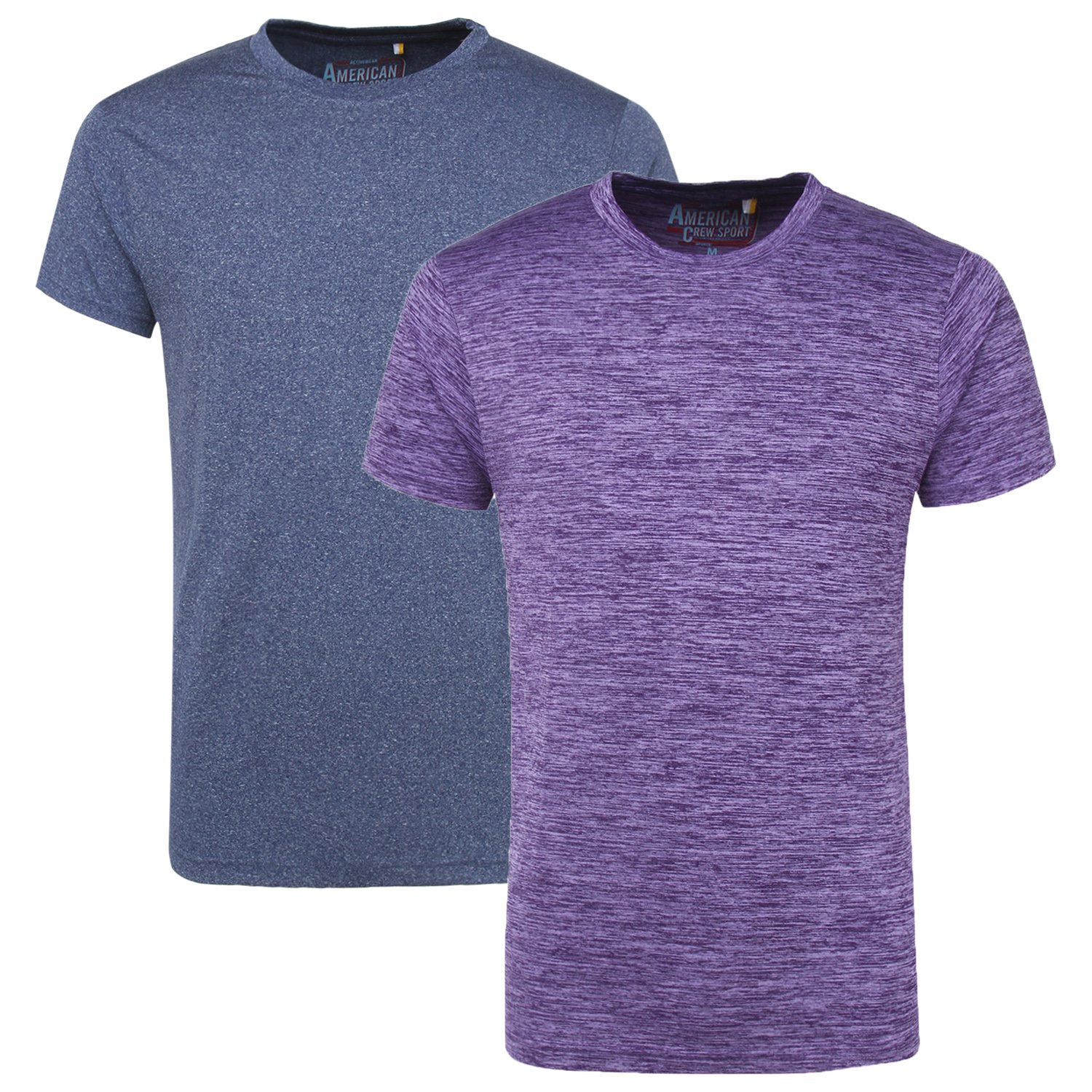 AMERICAN CREW Men's Sports Crew Neck T-Shirt Pack of 2 tees