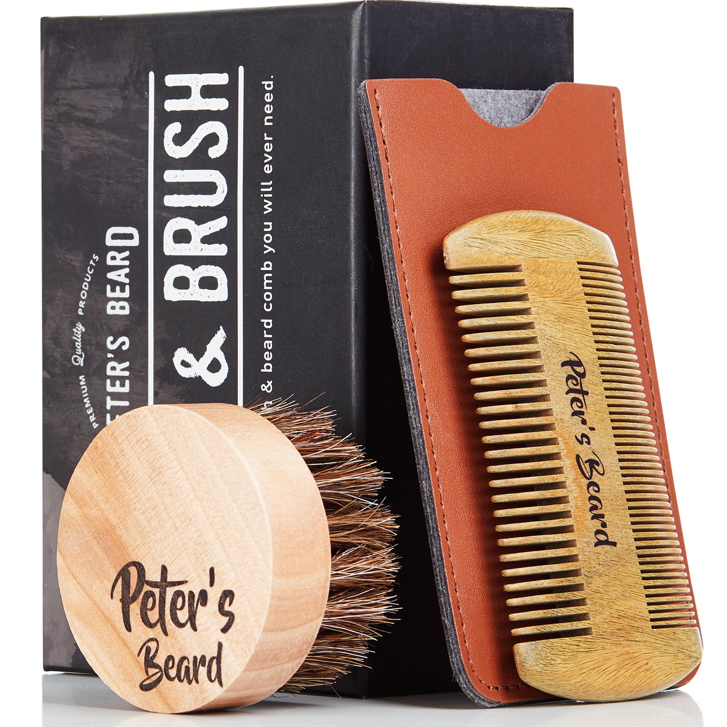 Beard Comb and Brush Set for Men - Wooden Beard Comb Sandalwood Beard Comb - Natural Horse Hair Bristle Brush - Perfect for Beard Balms & Oils – Soften and Condition Itchy Beards - 2 Year Warranty Peter's Beard
