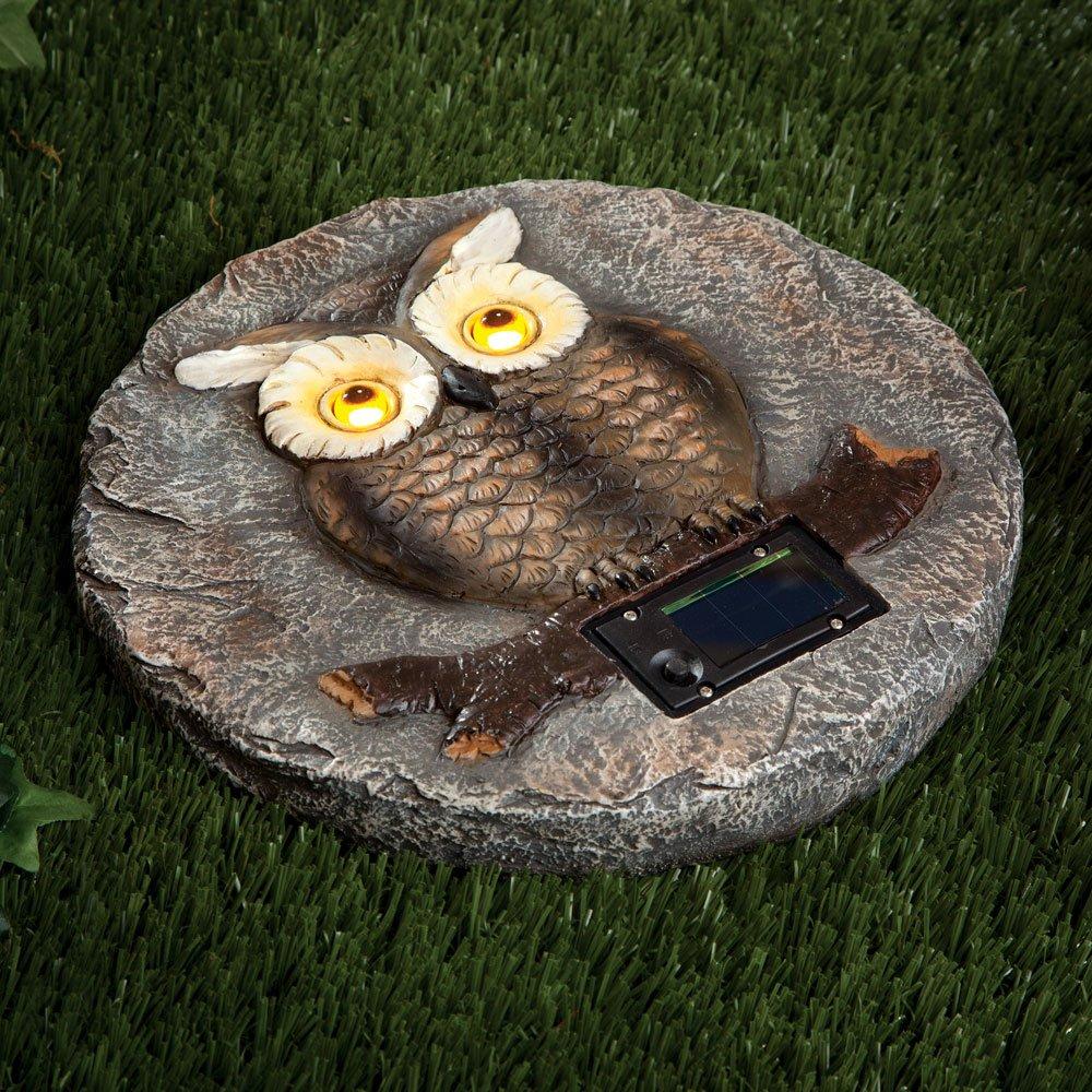 Bits and Pieces - Solar Owl Garden Stone - LED Outdoor Garden Décor - Lawn Stone Measures 10'' in diameter