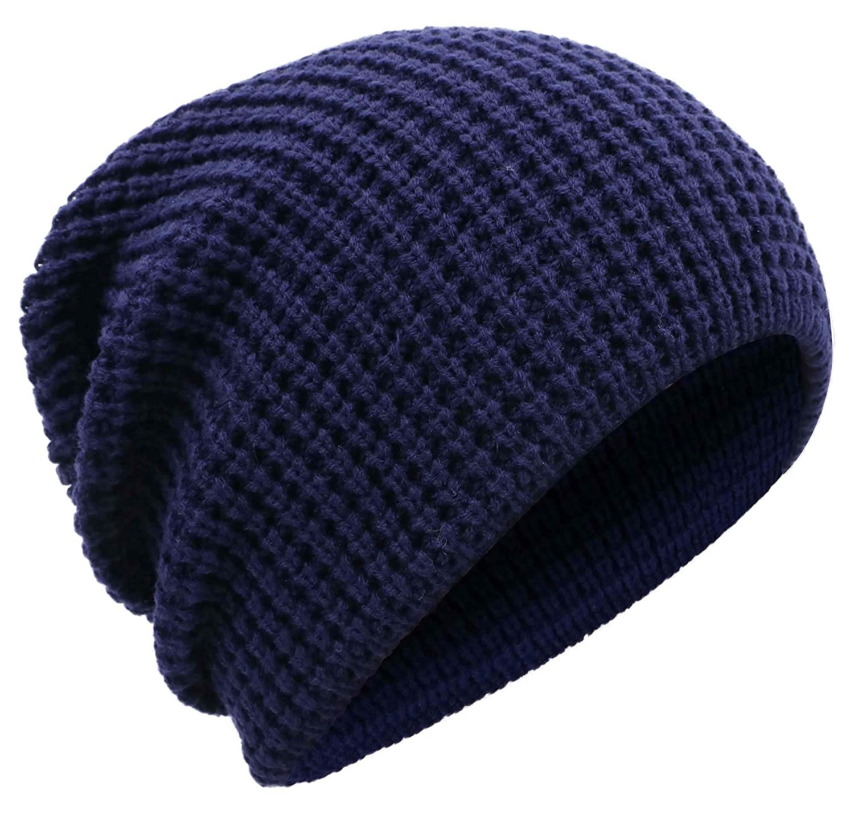 Livingston Men's Winter Thick Knit Slouchy Fit Outdoors Ski Beanie Hat Black/Blue 88-B15080031-03