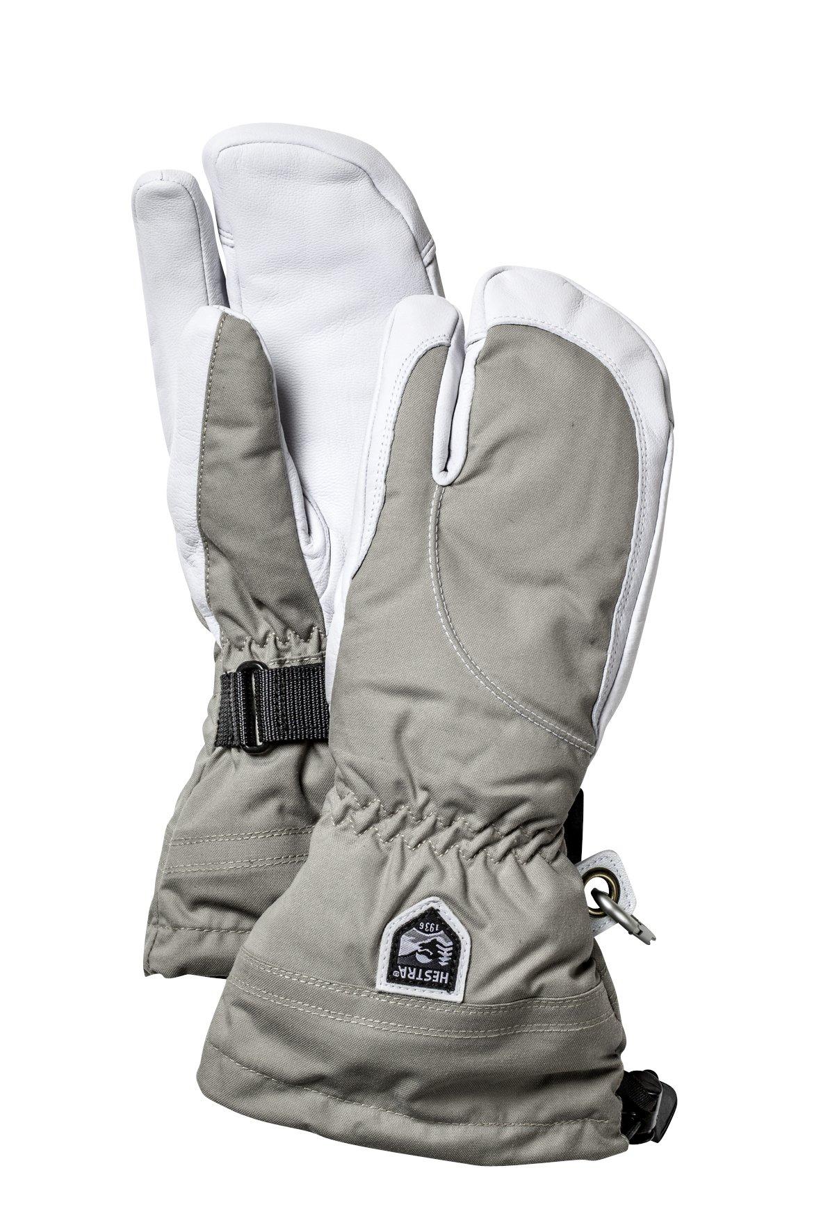 Hestra Women's Heli 3-Finger Gloves, Khaki/Off White, 7