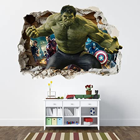 INCREDIBLE HULK WALL STICKER   SMASHED BEDROOM BOYS AVENGERS VINYL WALL ART