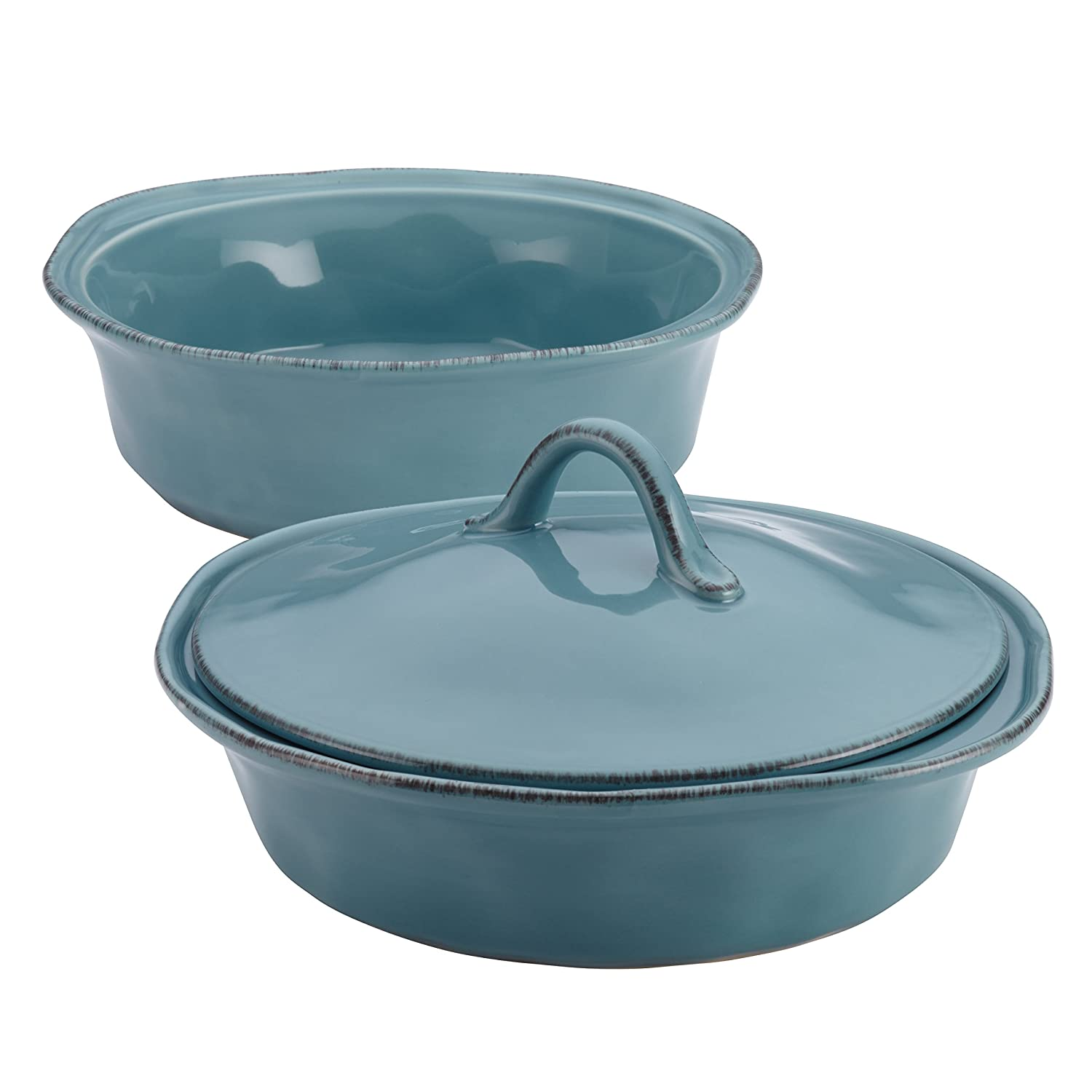 Rachael Ray Cucina Stoneware 3-Piece Round Casserole and Lid Set, Agave Blue Meyer 58314