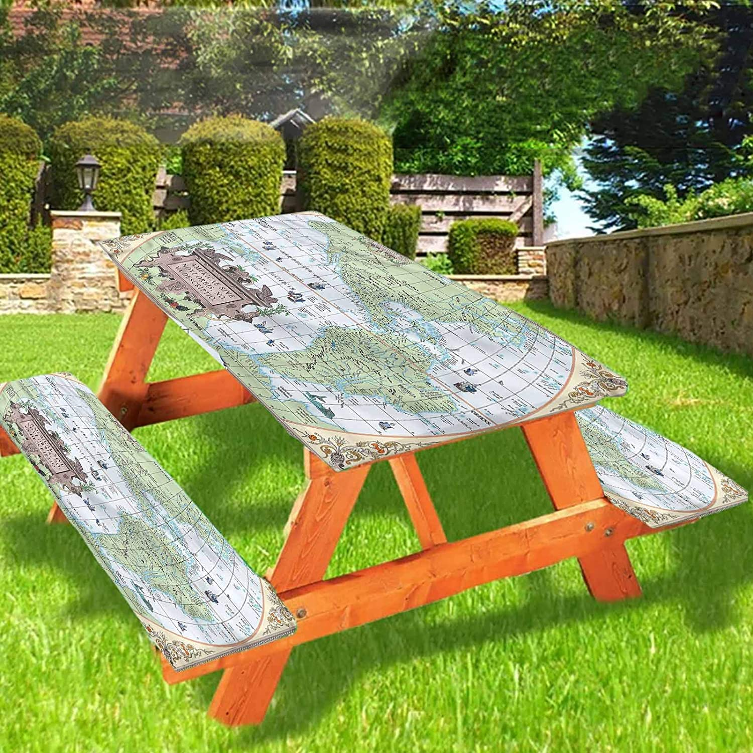Lyzelre Modern Picnic Table and Bench Fitted Tablecloth Cover,Vintage America Continents Elastic Edge Fitted Tablecloth,28 x 72 Inch, 3-Piece Set for Camping, Dining, Outdoor, Park, Patio