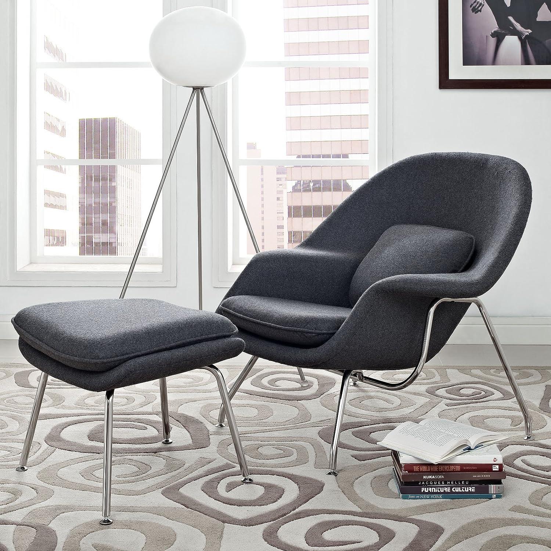 Saarinen womb chair - Amazon Com Modway Eero Saarinen Style Womb Chair And Ottoman Set In Dark Gray Kitchen Dining