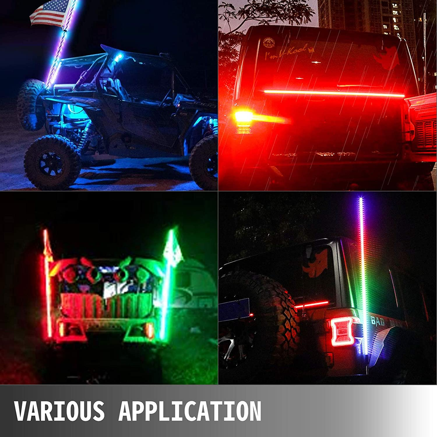 Bestauto Led Whip Lights RGB Color Lighted Whips for UTV 5ft Led CB Antenna 1pc Off-road Whip Remote Wireless Control LED Whips for Sand Dune Buggy UTV ATV Polaris Accessories RZR 4X4 Truck Jeep