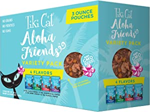 Tiki Cat Aloha Friends Grain Free Wet Food, Flaked Tuna for Cats & Kittens Variety Flavors, 12 Pouches 3oz