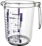 Fackelmann Messbecher, Messkanne aus Kunststoff, Messbecher mit vielfältiger Skalierung  (Farbe: transparent, Füllvolumen: 1 Liter), Menge: 1 Stück