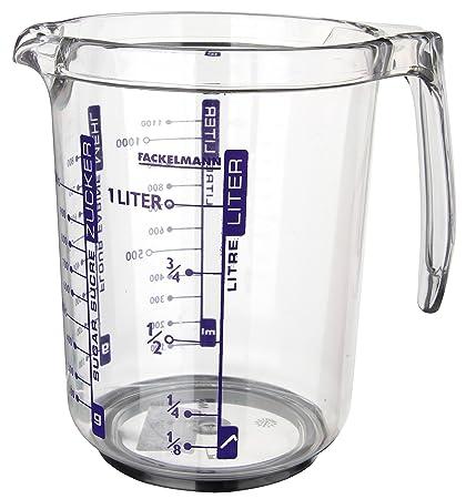 Fackelmann Jarra Medidora 1l. Plástico SAN. Transparente. 17,5x12,5x16,