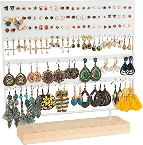 Wooden Earring Stud Organizer Jewelry Display Holder Stand 19cm