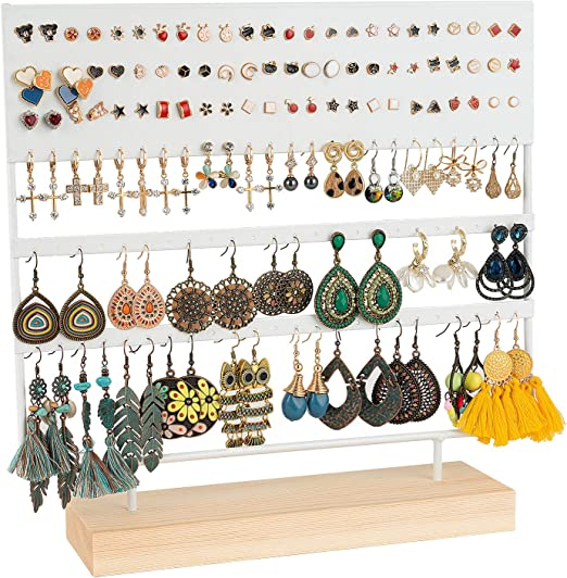 Amazon Com Earring Stand Display Rack 3 Tier Ear Stud Holder Jewelry Organizer Ear Stud Earring Holder 144 Holes With Wood Base Stand Display Rack For Women Girls Gift Ear Stud Holders White Home