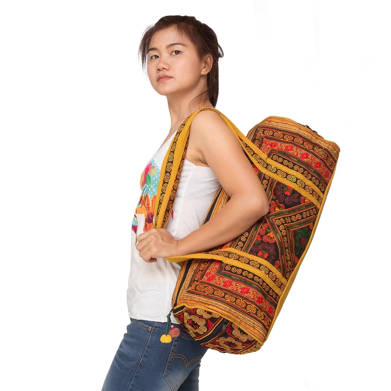 Handcrafted Traveling Bag with Diamond Embroidery Diamond Yellow Ethnic Duffel Bag