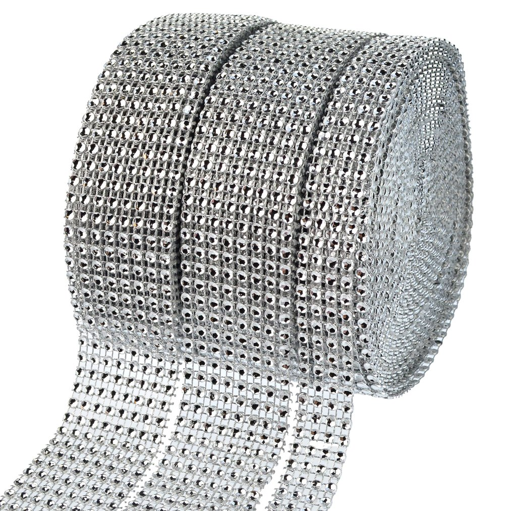 2 Rolls 8 Row 10 Yard and 1 Roll 4 Row 10 Yard Acrylic Rhinestone Diamond Ribbon, Silver Bling Diamond Wrap Ribbon for Wedding Cakes, Birthday Decorations, Baby Shower Events, Arts and Crafts 3 Rolls baotongle