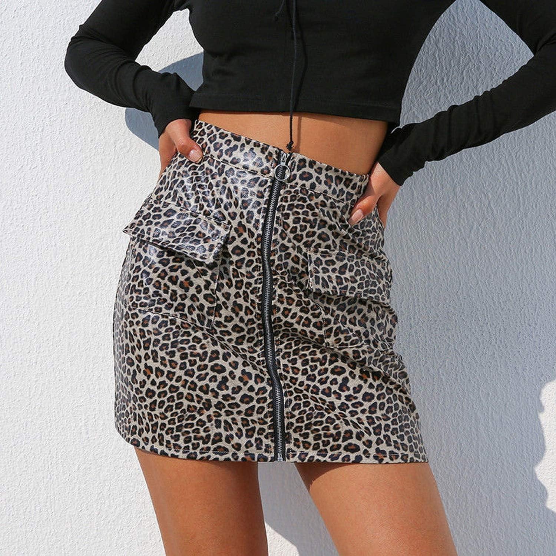 MAO MAO Falda de Piel sintética con Estampado de Leopardo, Falda ...