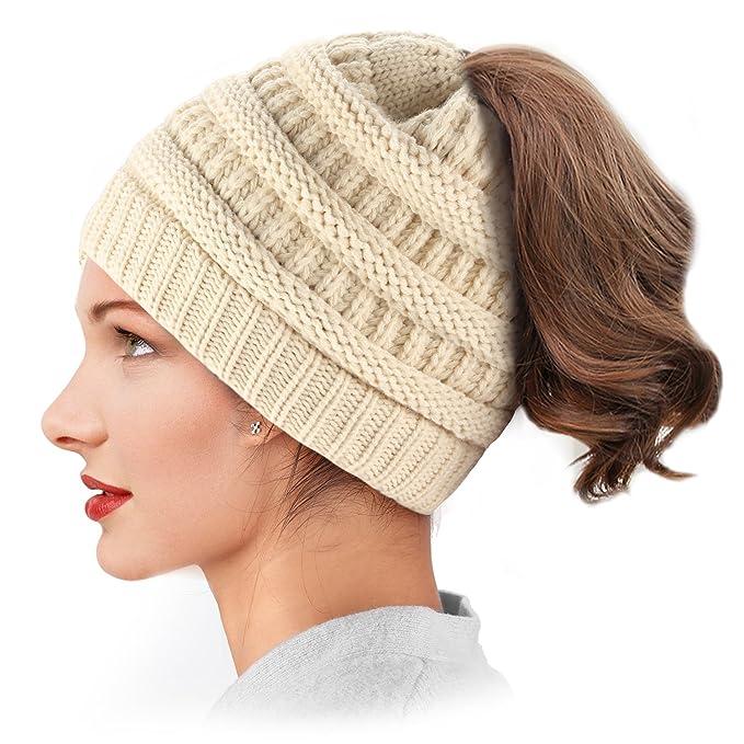 Dafunna Mujer Gorros de Punto Coleta Beanie Sombrero Invierno Suave Cálido  Elástico Ponytail Beanie Hat ( 3285d0841e1