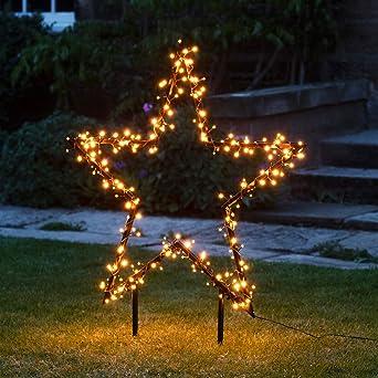 Stern Weihnachtsbeleuchtung.Lights4fun Cluster Stern Silhouette Warmweiß Weihnachtsbeleuchtung Außen 31v