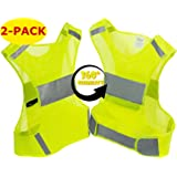 Reflective Vest for Running or Cycling (2-Pack) | Reflector Jackets with Pockets | High Visibility Safety Clothing for Bike, Walking, Runners | 5 Sizes