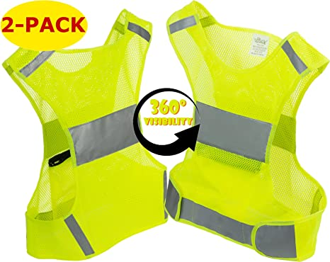 Runners Reflective Vest for Running or Cycling Walking 5 Sizes | Reflector Jackets with Pockets High Visibility Safety Clothing for Bike 2-Pack