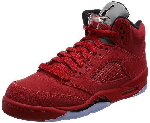 Jordan Retro 5 Red Suede Universidad Rojo Negro (Big Kid