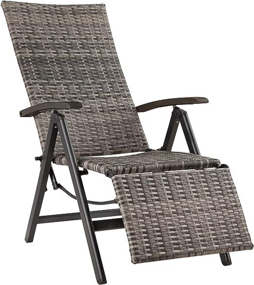 TecTake 800720 Fauteuil Relax de Jardin Pliant en Résine tressée et Aluminium, réglable en Chaise Longue, avec Repose Pieds Plusieurs Couleurs
