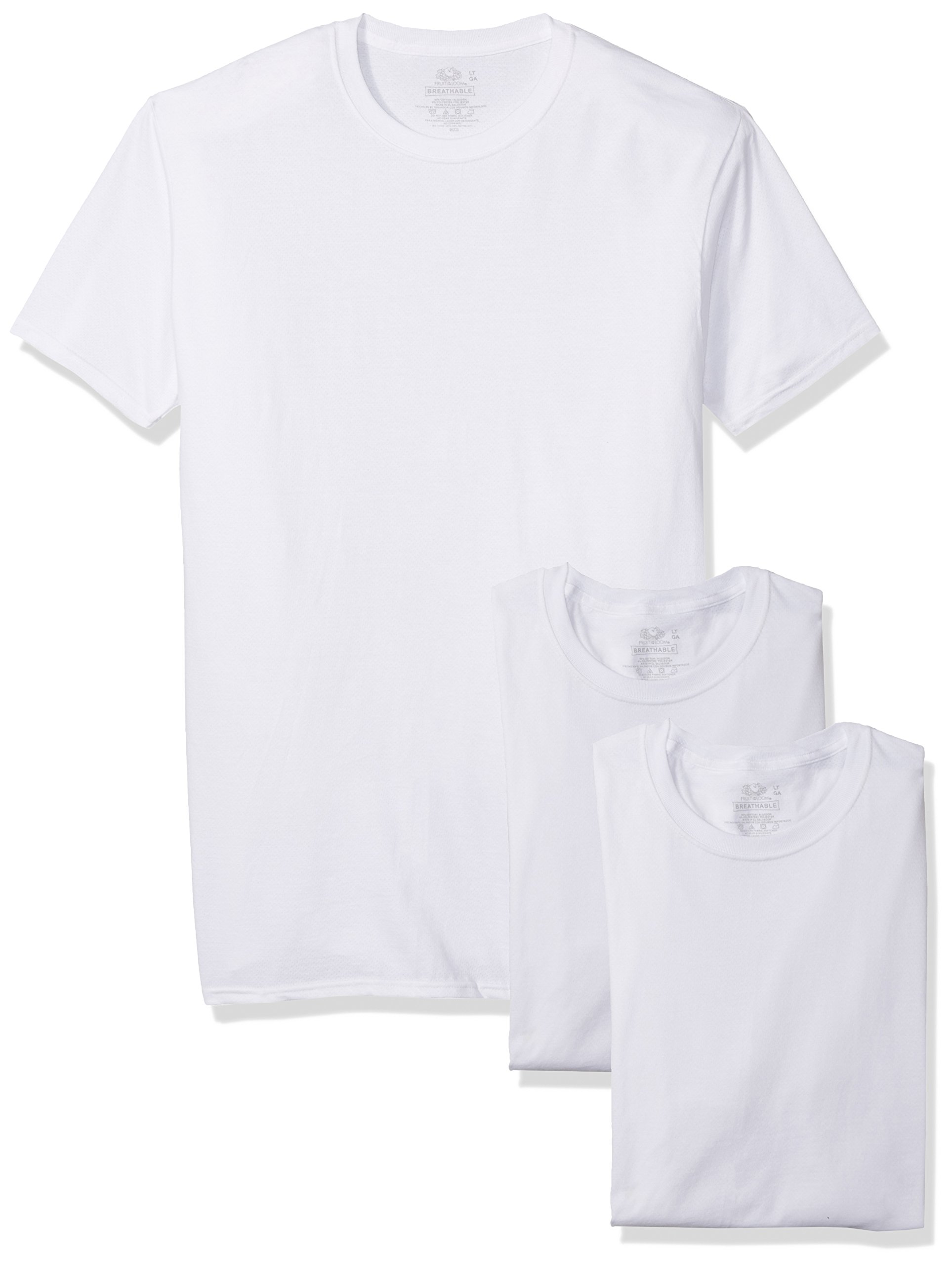 Fruit of the Loom Men's 3-Pack Breathable Crew T-Shirt, White Ice - Tall Sizes, Large