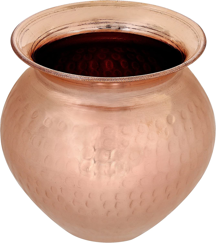 Handmade Indian Hindu Puja Lota Kalash - Hammered Copper Vessel - Home Decor