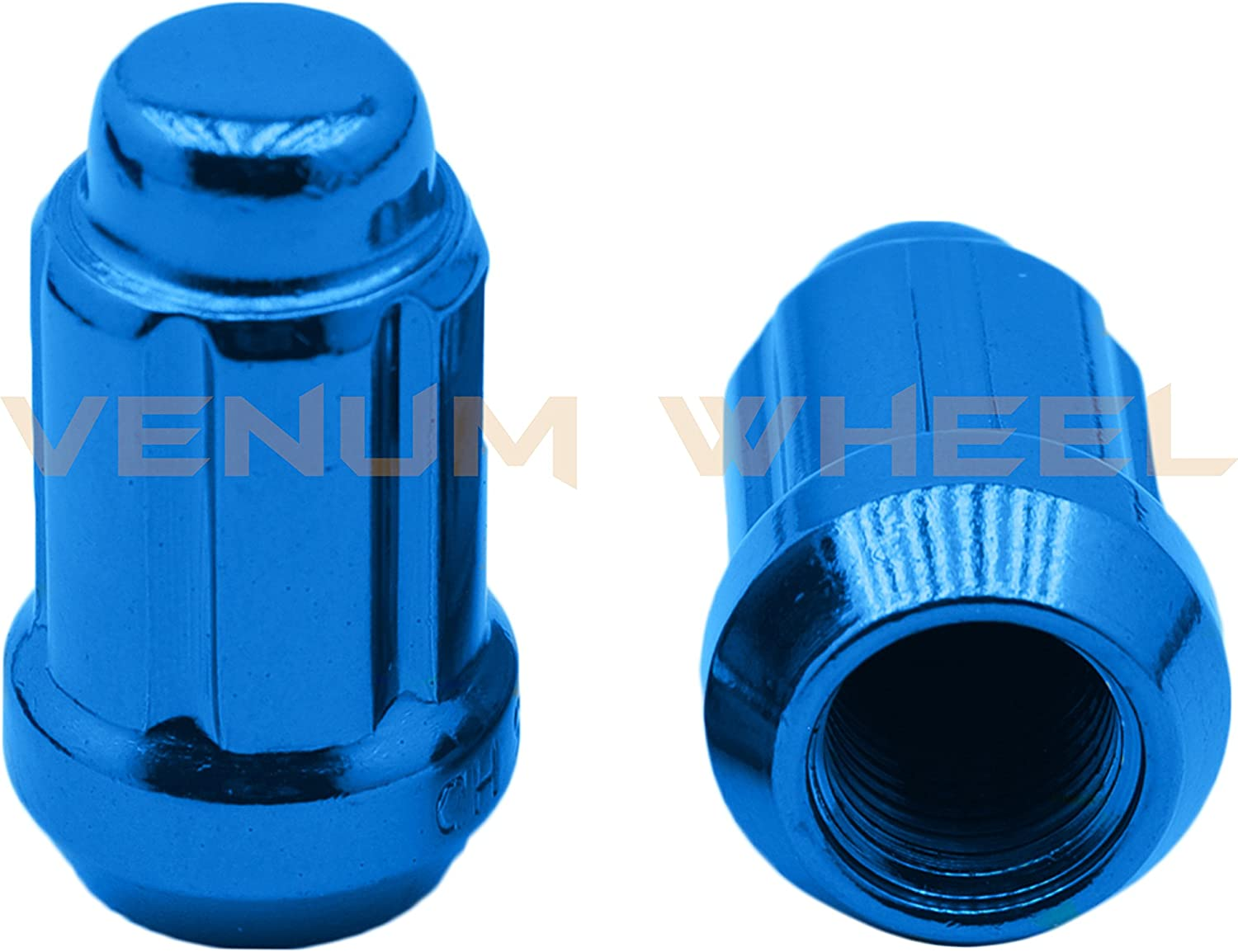 Fits 2007-2016 Jeep Compass Patriot with Aftermarket Wheels 20pc Spline Tuner 12x1.5 Blue Lug Nuts
