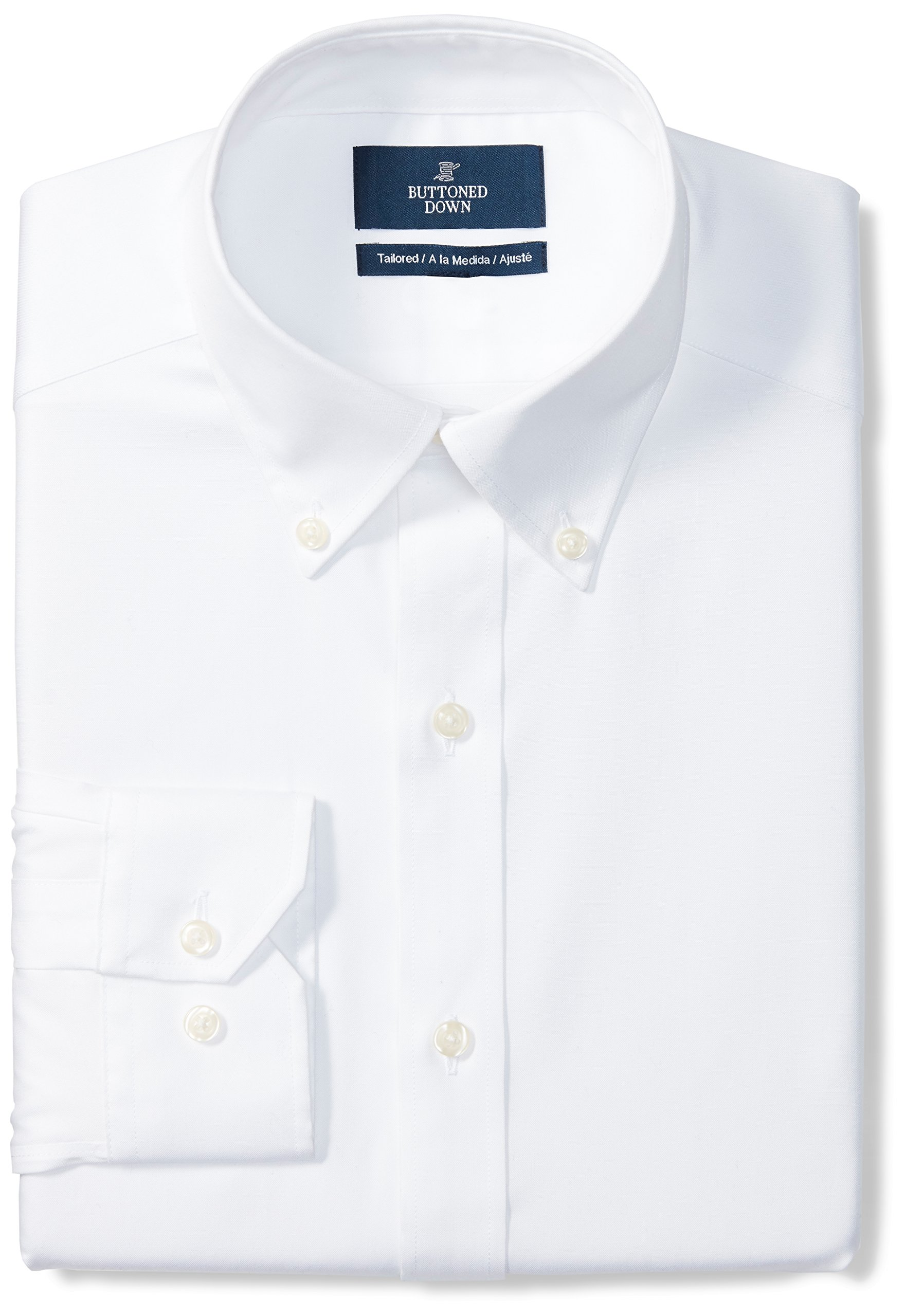 Buttoned Down Men's Tailored Fit Button-Collar Solid Non-Iron Dress Shirt (No Pocket), White, 15.5'' Neck 36'' Sleeve