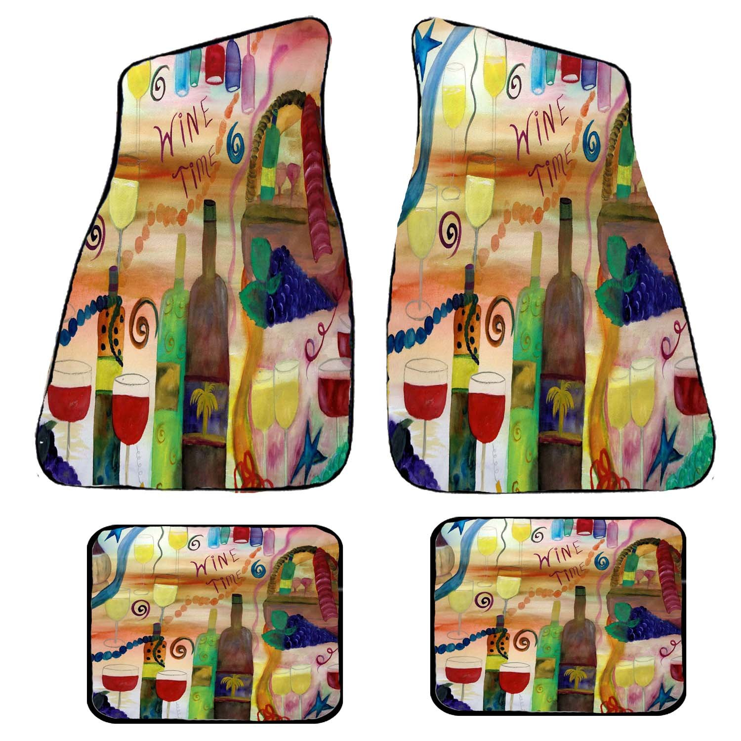Wine Time Art Auto Car Floor Mat Sets