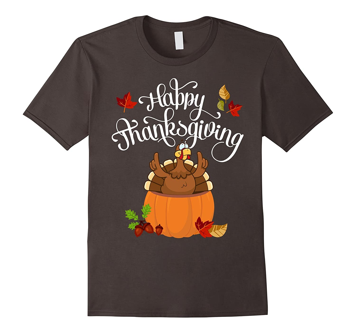 Happy Thanksgiving - Funny Pumpkin Turkey Day T-shirt-ANZ