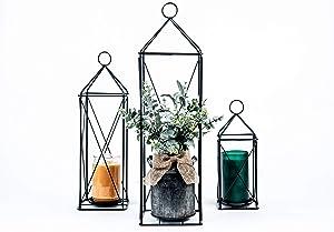 Elegant Decorative Tall Lantern with Pillar Candle Holder | Garden Porch Night Indoor/Outdoor for Wedding Decor, Party, Christmas | Set of 3 Lanterns (Black)