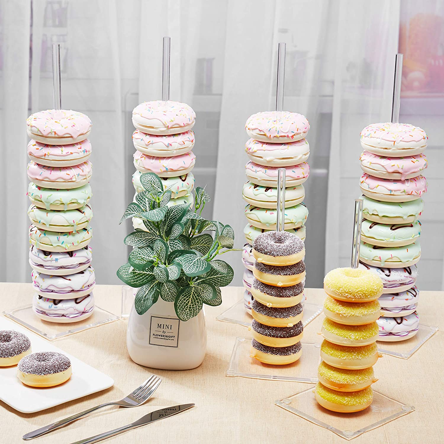 Jofave Acrylic Donut Holder for Baby Shower, Clear Bagel Doughnut Stand for Parties,Sweets Tables,Wedding Treats.6 piece
