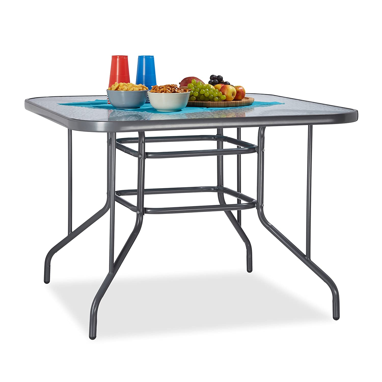 Relaxdays Struk Tavolo da Giardino, Antracite, 100x100x70 cm Relaxdays GmbH 10020939
