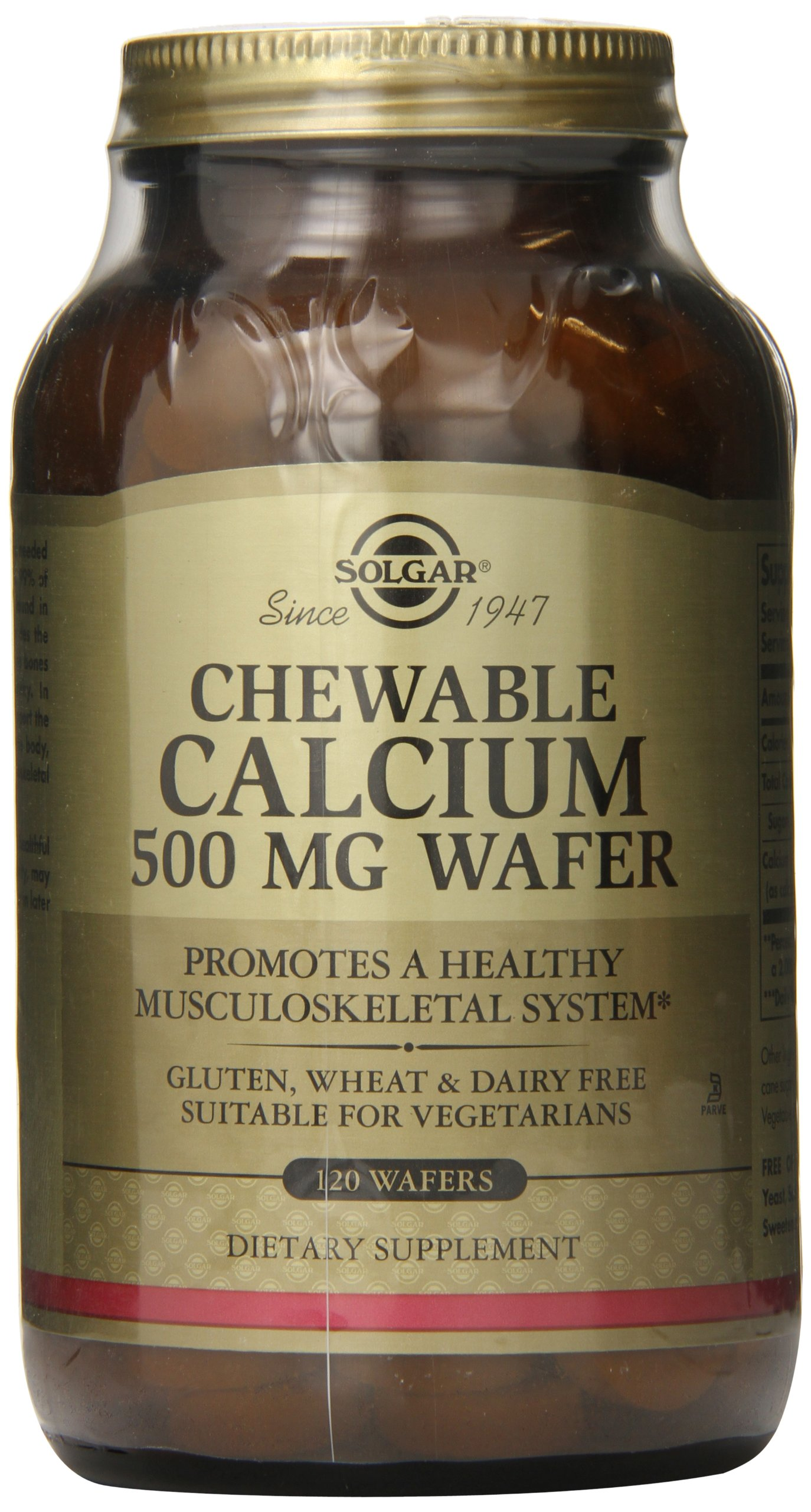 Solgar - Chewable Calcium Wafers, 500 Mg, 120 Wafers