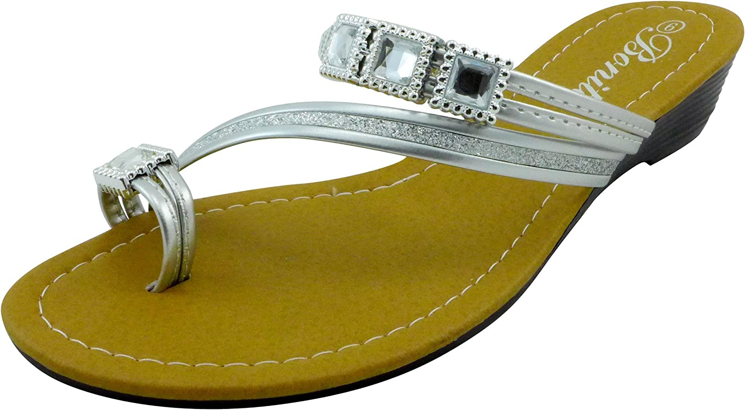 Womens Gladiator Sandals Sets Of Toe Bling Jeweled Wedge Shoes Low Heels BABY-06