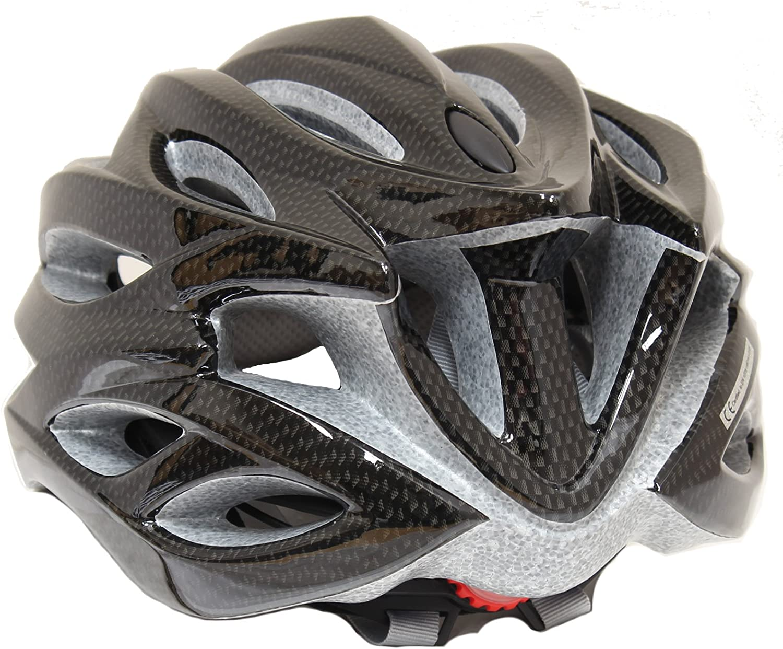 PedalPro Carbon Fibre Effect Bike Helmet with Visor /& LEDs