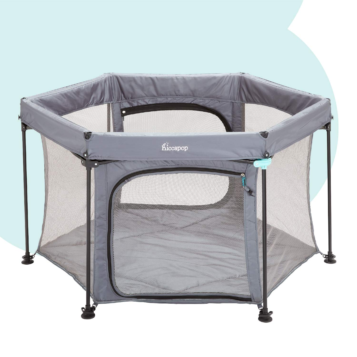 hiccapop PlayPod Deluxe Portable Playpen for Babies and Toddlers, Portable Play Yard for Baby with Padded Floor | Pop Up Playpen at Beach and Home | Outdoor Playpen for Baby | Portable Playard