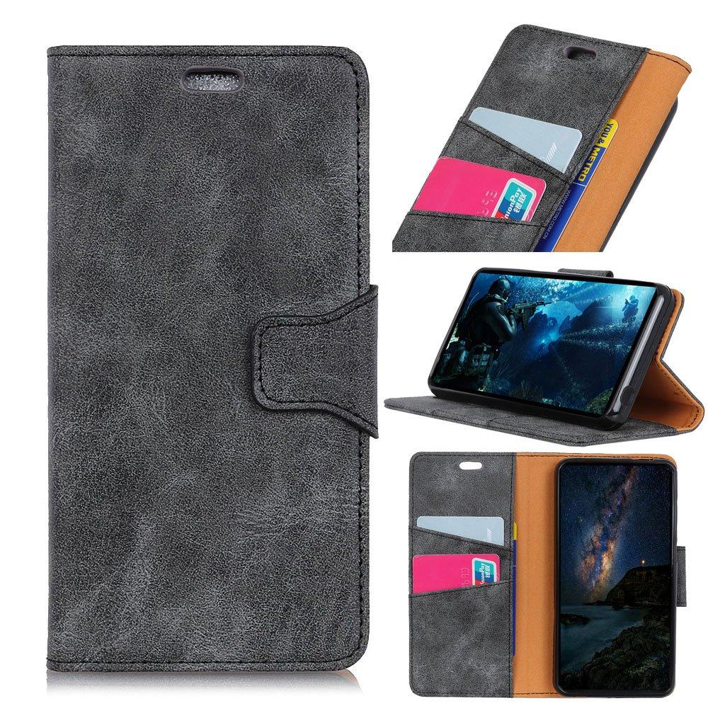 Scheam Vodafone Smart V8 Case, [Portable Wallet ] [ Slim Fit ] Heavy Duty Protective Backcover Flip Cover Wallet Case Compatible with Vodafone Smart V8 - Grey