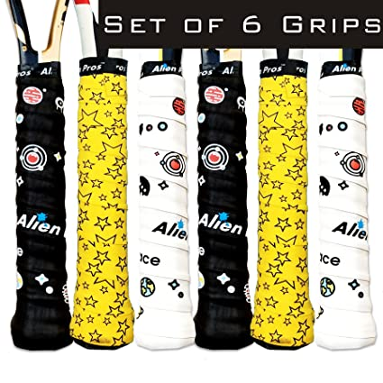 Alien Pros Tennis Racket Grip Tape (6 Grips) – Precut and Dry Feel Tennis Grip – Designer Tennis Overgrip Grip Tape Tennis Racket – Wrap Your Racquet ...
