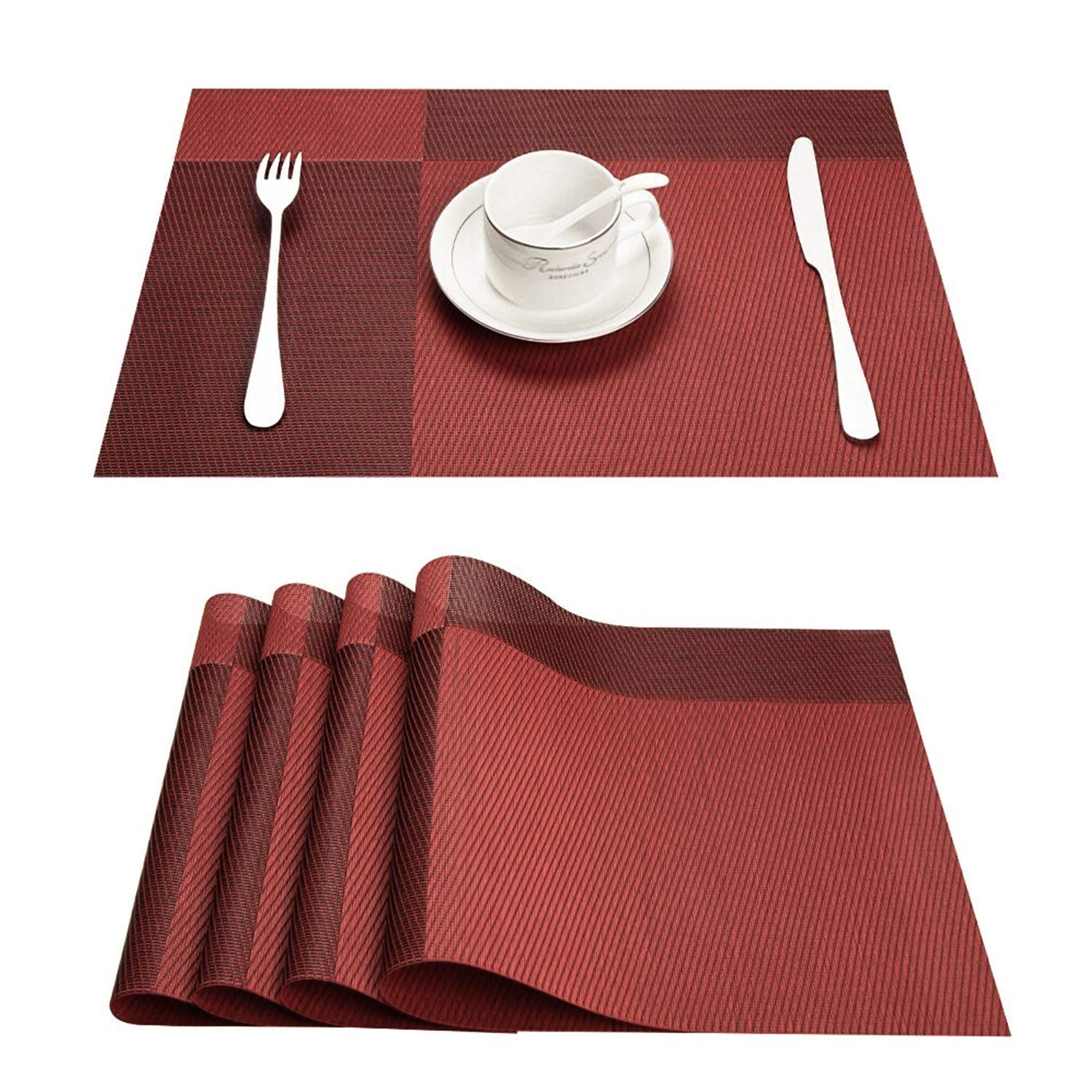 Top Finel Table Placemats Vinyl Crossweave Stain Resistant Wipeable Non-Slip Kitchen Outdoor,Red,Set of 8