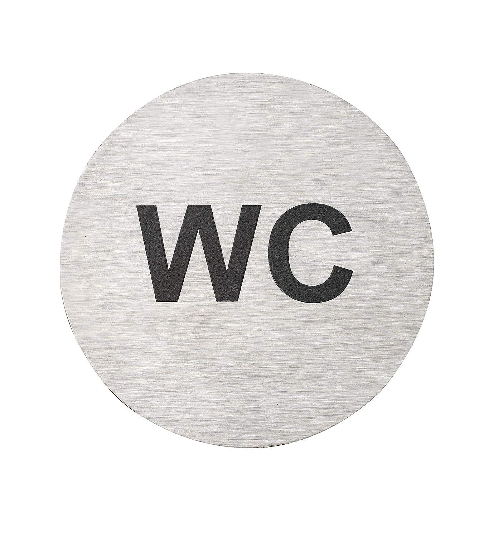 Fire Door Guru/® W.C Stainless Steel 76mm Disc Toilet Door Sign Self-Adhesive