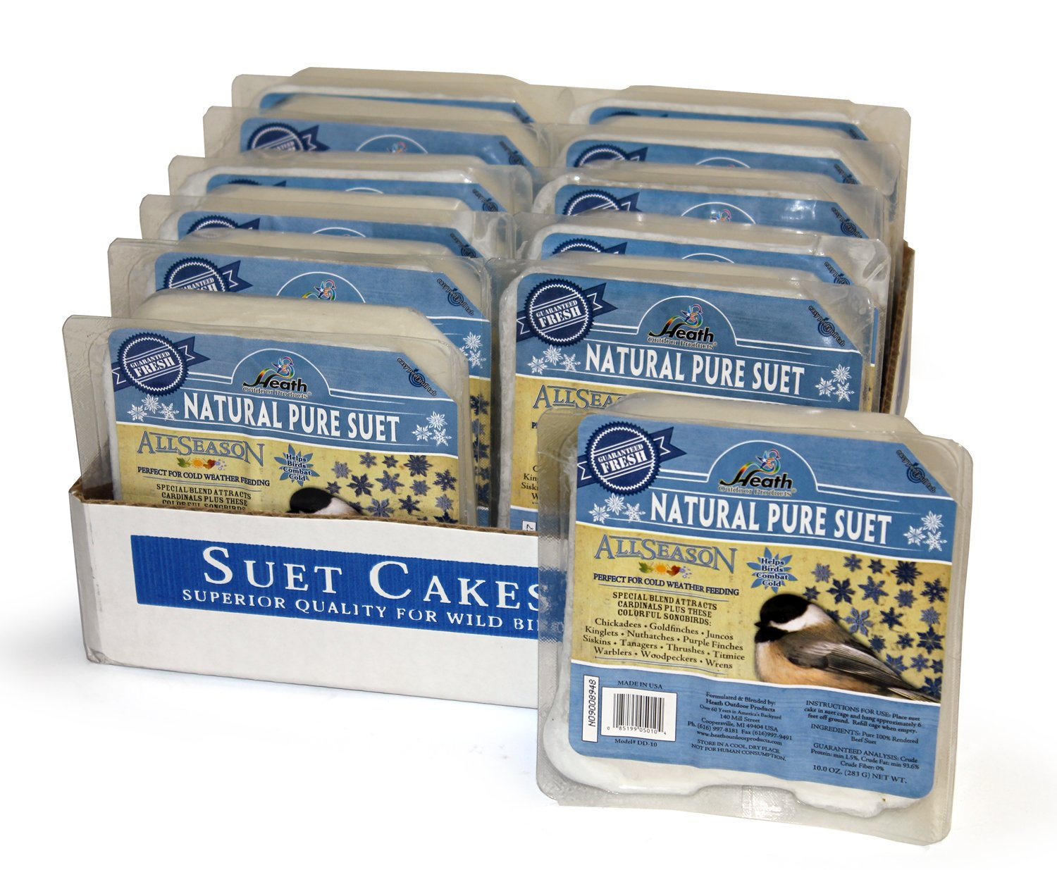 Heath Outdoor Products DD-10 Natural Pure Suet Cake, Case Of 12 by Heath Outdoor Products
