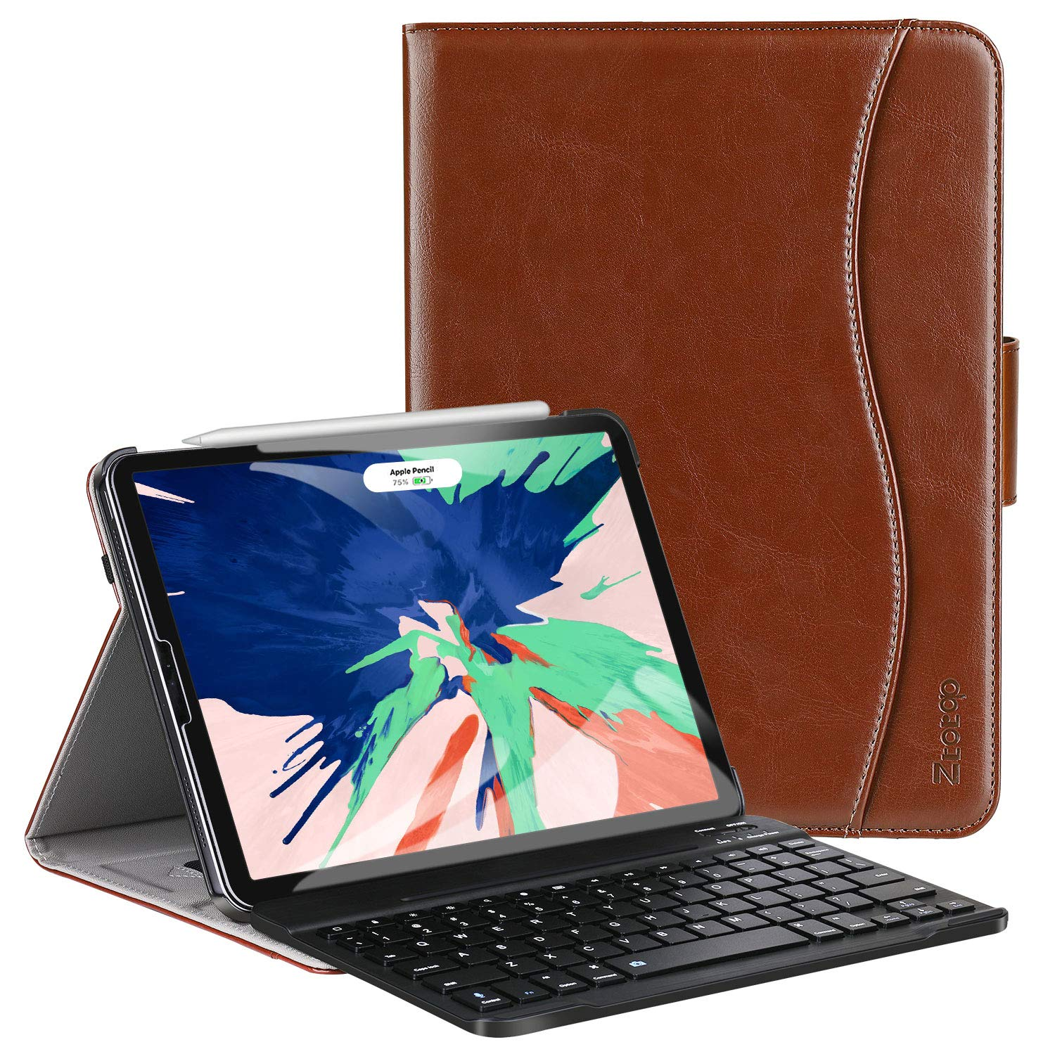 Ztotop Keyboard Case for iPad Pro 12.9 inch 2018 ,Protection for iPad Pro 12.9 inch 3rd Gen,Brown Detachable Wireless Keyboard Folio Cover with Auto Wake//Sleep Support 2nd Gen iPad Pencil Charging