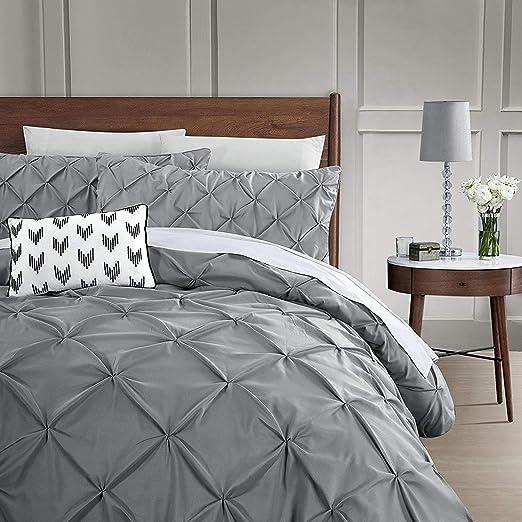 3 Piece Set Vaulia Soft Microfiber Duvet Cover Set Blue King Size Decorative Pinch Pleat Pattern
