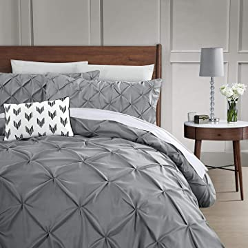 HOME HUG TEXTILES Grey Duvet Cover King,100% Microfiber Polyester,Pinch Pleat Duvet Cover Set,3-Piece,Pintuck Grey Bedding Set with Zipper Closure and Corner Ties