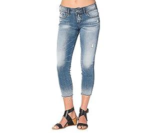 Silver Jeans Co. Suki Skinny Crop Fray Hem Jeans 31