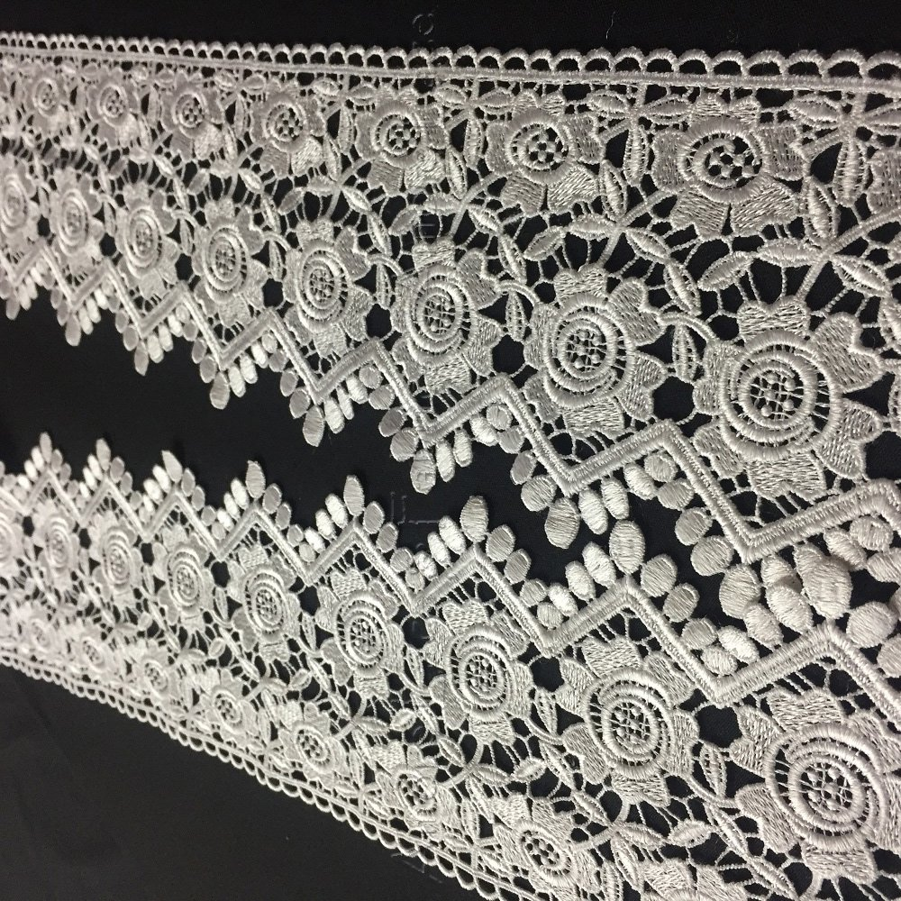 White Multi-Use ex Lace Trim Rose Floral Geometric Scallops Venise by The Yard 5 Wide 2 Yards Available in Multiple Colors Garments Slip Extender