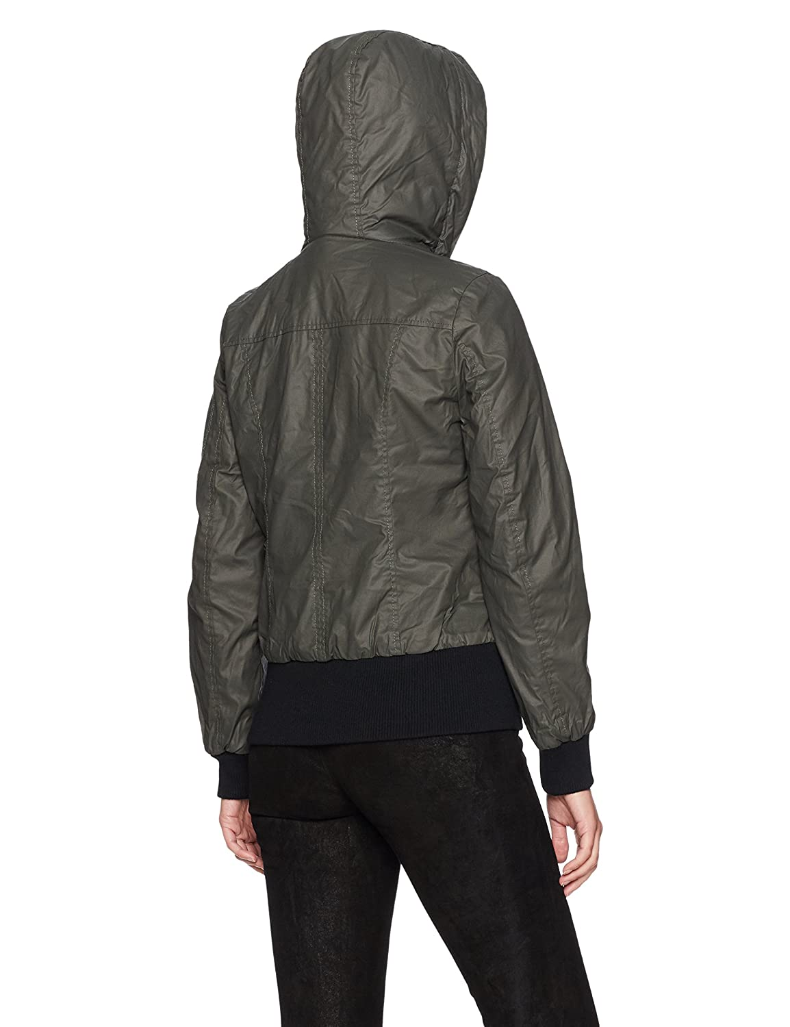 Sebby Collection Womens Waxy Cotton Bomber Jacket with A Fur Hood